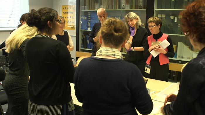 Fig. 1 Workshop participants gather to view items from the V&A's lace collections