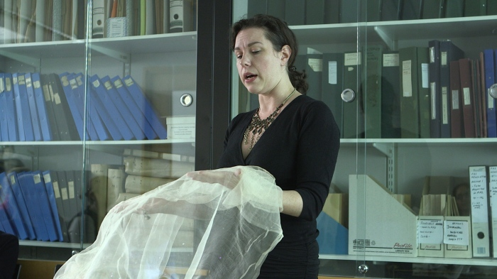 Fig. 5 Hilary Davidson with fine silk to reconstruct the veil